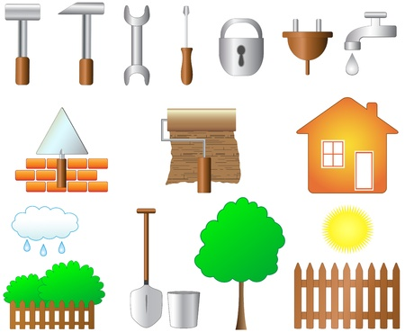 yard sign: set of objects for home work and household