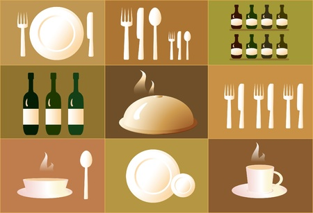 sugar spoon: set of objects for the restaurant. dish, plate, cup, spoon, fork, knife.