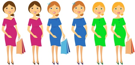 set of beautiful pregnant womans in colorful dress Vector