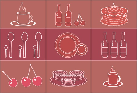 set of silhouettes dessert objects for menu Vector
