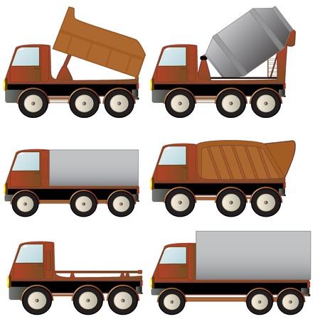 camion de basura: conjunto de la construcci�n especializada de transporte y camiones Vectores