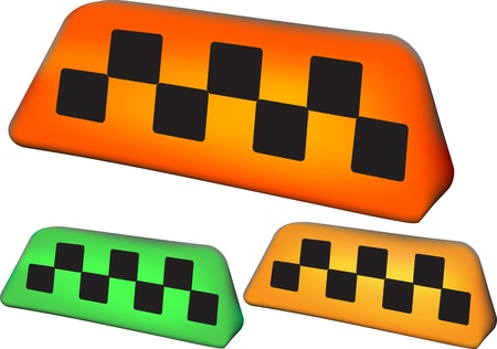 yellow cab: set of taxi symbol with three objects and mesh gradient elements Illustration