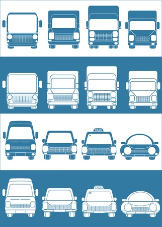 set blue and white cars with truck passenger car Vector