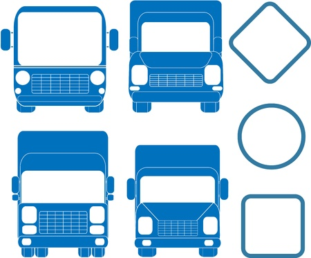 headlamp: blue set of transport silhouettes with frames Illustration