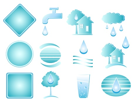 set of blue water objects and button Vector