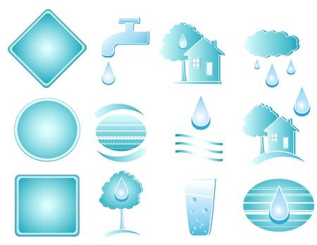 set van blauw water objecten en de knop Vector Illustratie