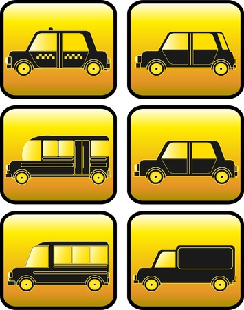 set of buttons with modern urban cars silhouette Vector