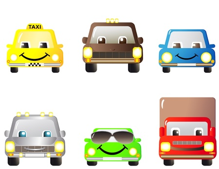 yellow cab: set of many cartoon cars, toys Illustration