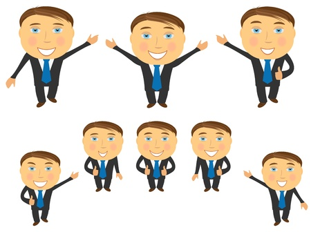 cute set of cartoon happy emotional businessman Vector