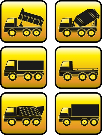 builder logo: set of construction transport truck with yellow button