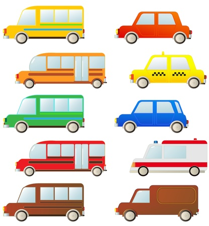 transport set of cute urban cars silhouette Vector