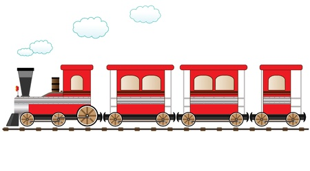 railway history: cute red train moving on the railroad