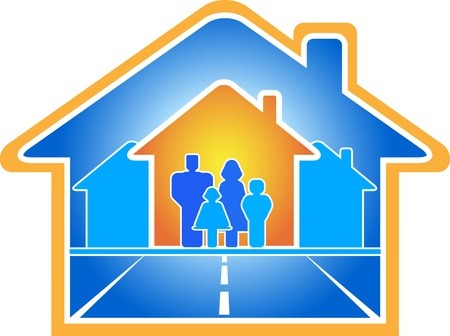 communication road going in house with family Stock Vector - 12340653