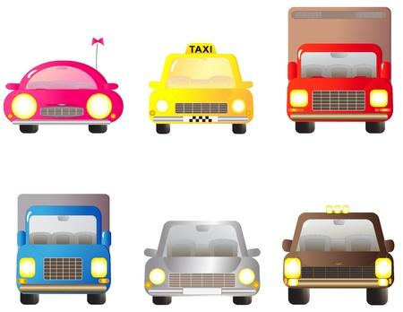 motor de carro: establecer el transporte de objetos de colores - coche, jeeps y camiones Vectores