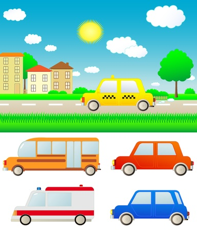 set colorful cars with summer nature landscape and city Stock Vector - 12333812