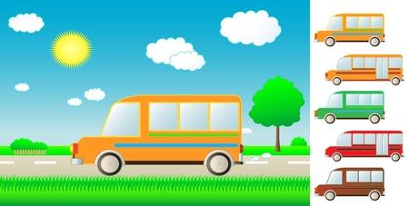 set cute cartoon bus on summer road