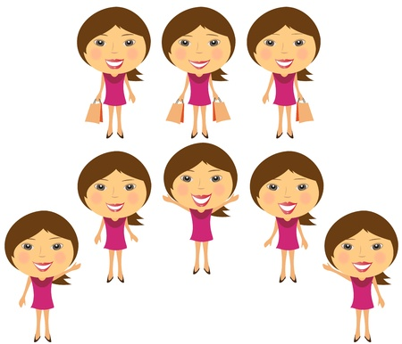set cartoon smiling girl in pink dress Vector