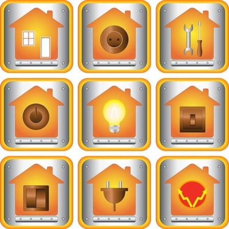 enchufe de luz: conjunto de objetos el�ctricos con el bot�n de la casa y el metal