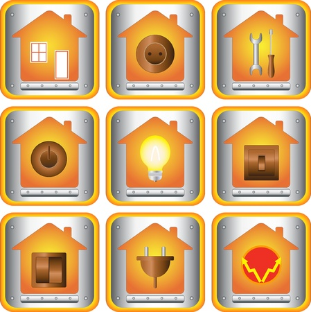 electrician with tools: set of electric objects with house and metal button Illustration