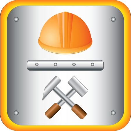 construction team: The button with helmet and two hammer