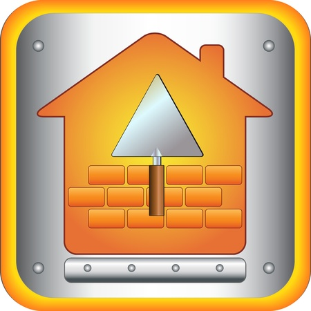 sign with a trowel and brick house Vector