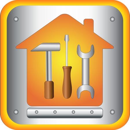 logotipo de construccion: botón con herramientas - una llave destornillador y un martillo en la casa