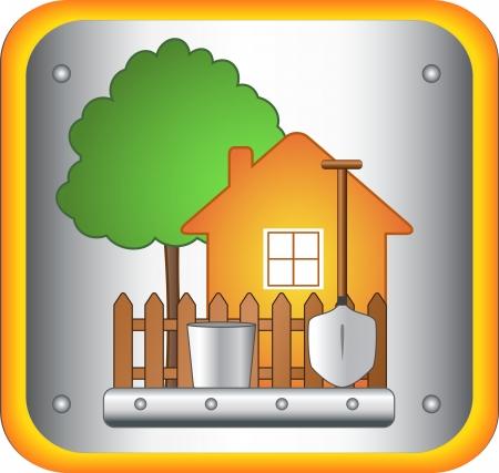 haus garten: Garten Schild mit Haus-und Gartenger�te Illustration
