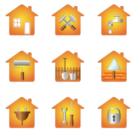 inventory: set icon of tools and silhouette of house Illustration