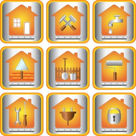 los iconos de conjunto con las herramientas para el hogar