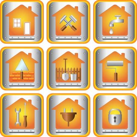 ware house: the set icons with tools for house Illustration