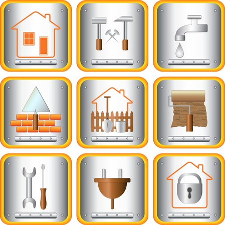 mur platre: d�finir signer des outils utiles pour la maison et le jardin Illustration