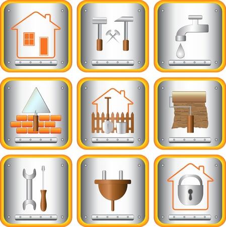 logotipo de construccion: set signo herramientas útiles para el hogar y jardín