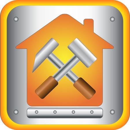 logo batiment: signer constructeur avec des outils de construction pour la maison