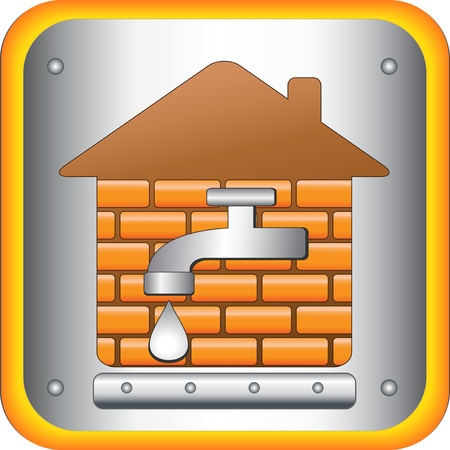 tap to the house and the bricks Stock Vector - 12344418