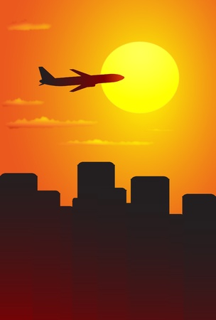 Big plane in red sky above the city Stock Vector - 12333875