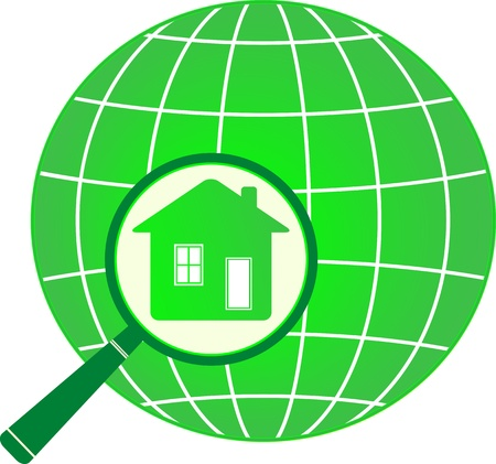 magnifier: green eco planet with house in magnifier