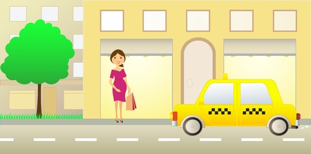 pregnant girl near showcase and taxi car Vector