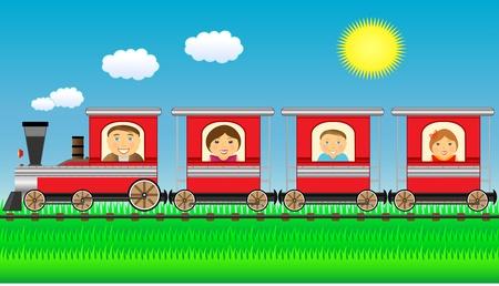 tren caricatura: familia alegre se mueve en tren con la hierba y el sol