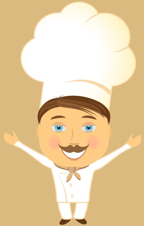 invitation from happy smiling cook with open arms Vector