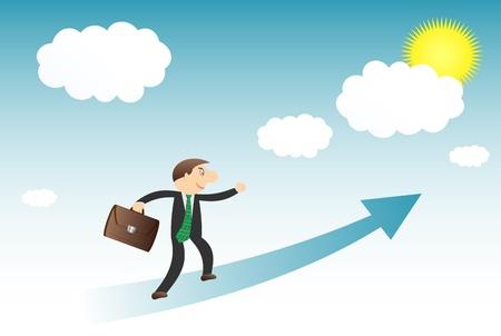 idzie: zadowolony biznesmen idzie w kierunku sukcesu