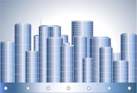 Big blue and grey modern metalic city Stock Vector - 12333796