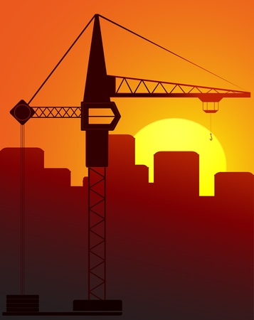 concrete block: construction crane against the evening city