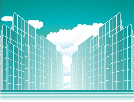 modern urban background with sun and cloud Vector
