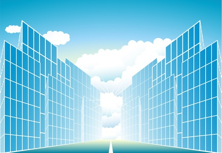 corporate buildings: blue sign modern urban landscape with sun and cloud