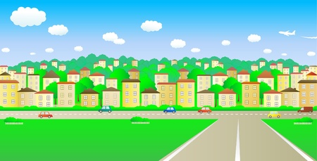 big road and a cozy cheerful city Stock Vector - 12333873