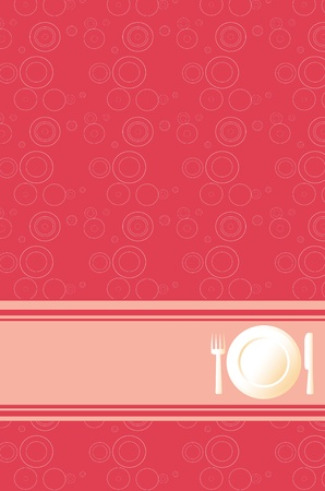 wares: modern red background for cute dinner menu Illustration