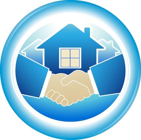 logo batiment: rond signe de poignée de main des affaires dans le cadre bleu