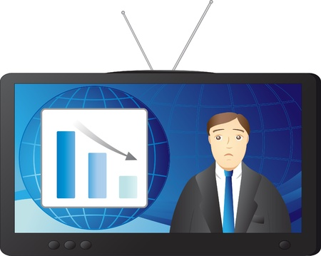 dreary: sad presenter says bad news of business Illustration