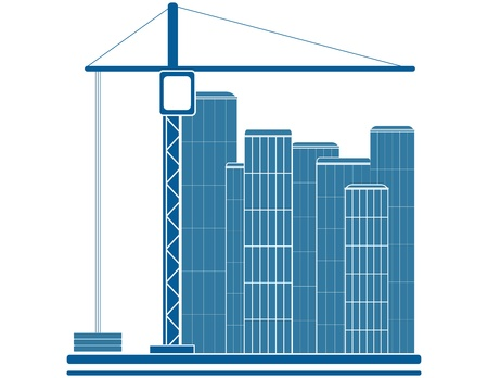 construction team: blue construction sign with crane and skyscraper