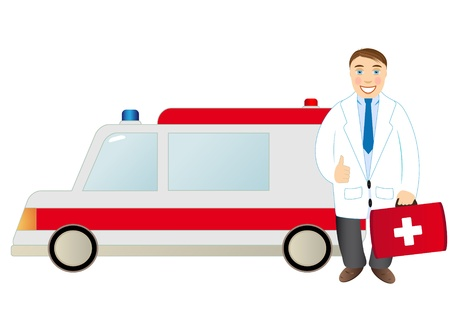 Doctor standing beside an ambulance Vector